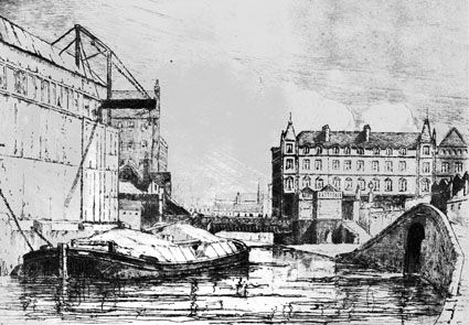 Pen and ink drawing carried out by A.E. Berbank in 1919 of the stretch of the Nottingham canal between Carrington street and Wilford Road.